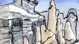 Piz de Lech Dolomites Watercolour painting